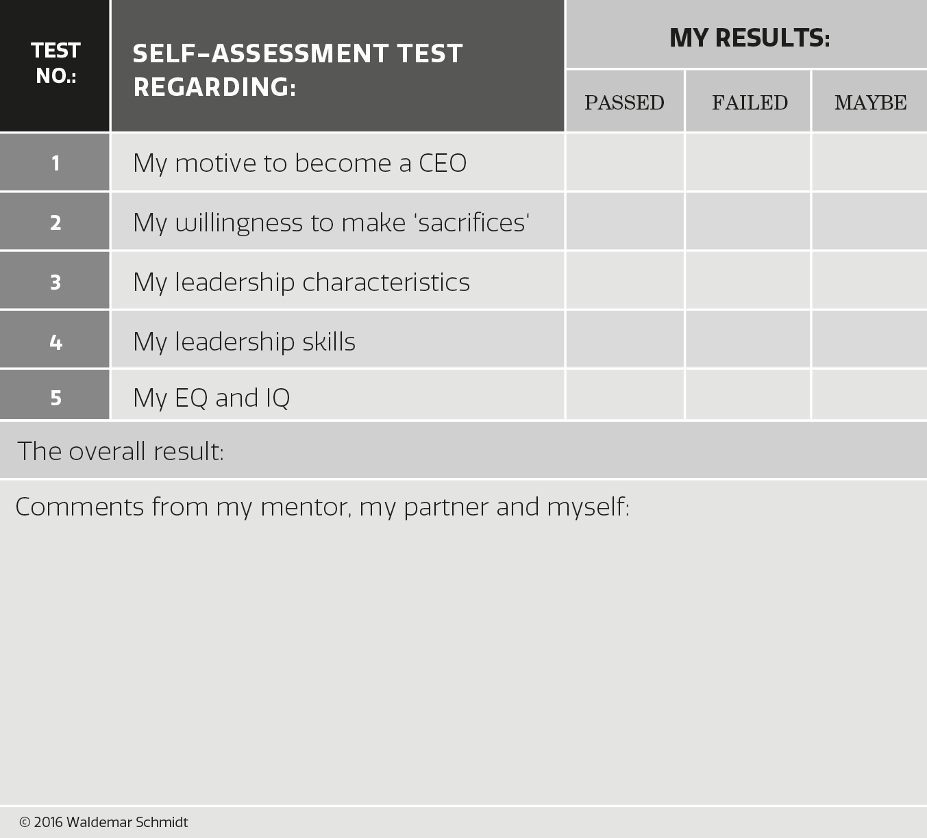 The Job of the CEO - Test Results
